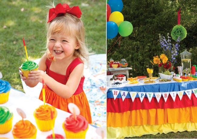 Как украсить детский праздник: оформление праздника цветами радуги.